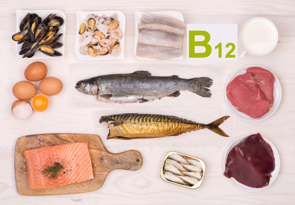 Collage of foods that deliver vitamin B12