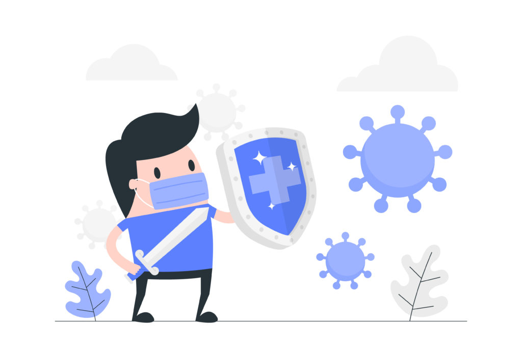 Illustration of how to defend yourself against viruses