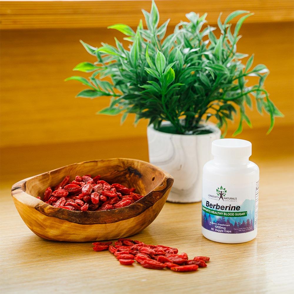 Berberine in bowl with berberine supplement